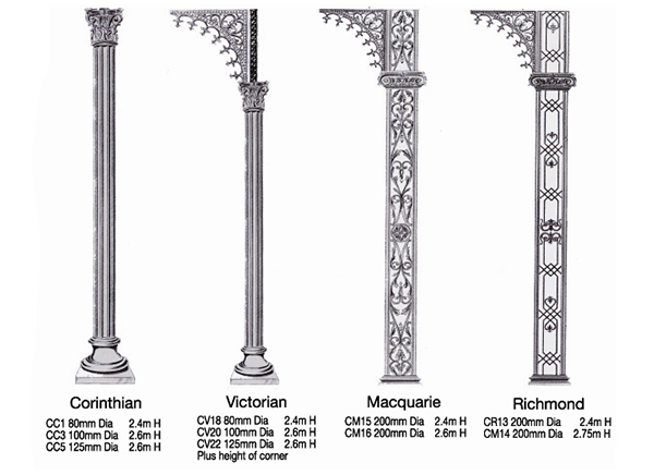 Wrought iron columns reproduced in Aluminium