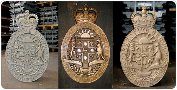 polish and Bronze Sheild Aged Bronze